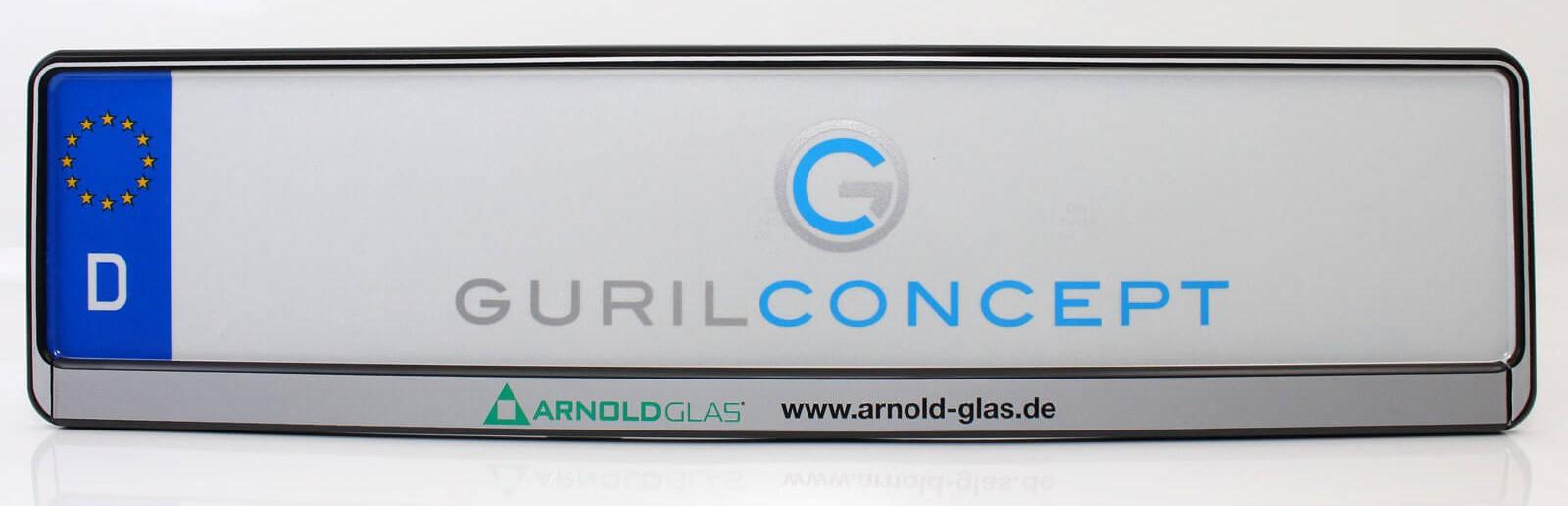 Bedruckte Kennzeichenhalter für Arnold Glas