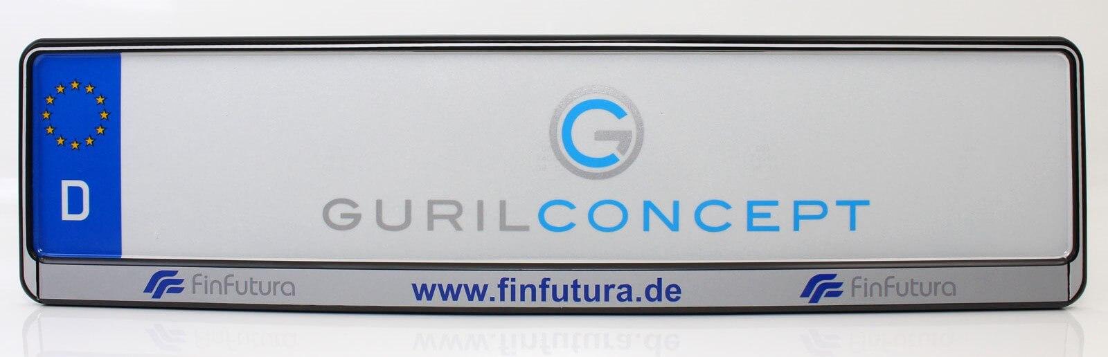 Kennzeichenhalter mit individuellem Firmenaufdruck für FinFutura
