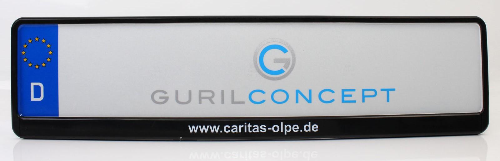 Bedruckte Firmen- und Unternehmens Kennzeichenhalterung (Caritas Olpe)