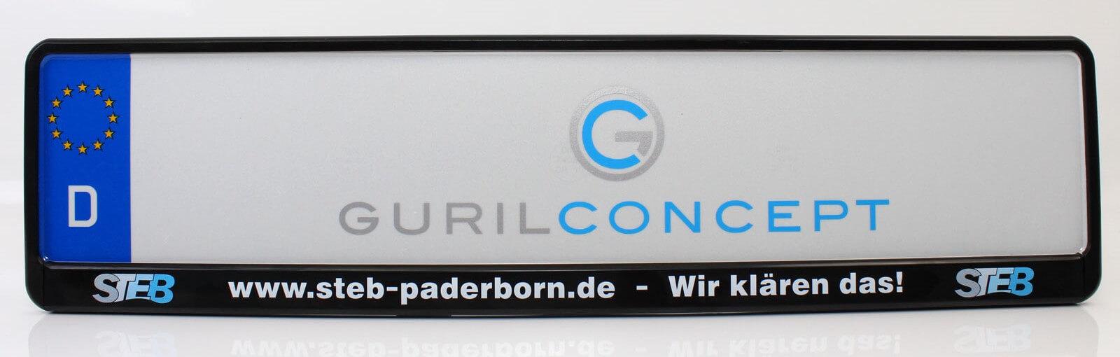 Beschrifteter Kenneichenhalter für STEB Paderborn