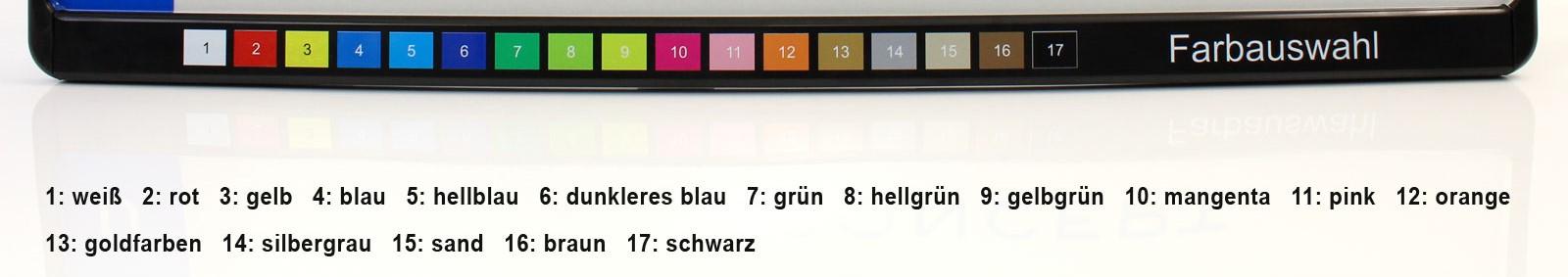 Kennzeichenhalter bedruckt im CMYK UV-Digitaldirektdruck