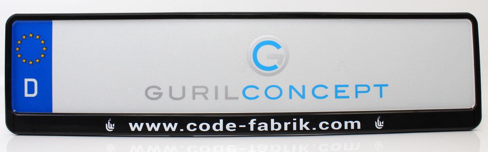 Bedruckte Firmen- und Unternehmens Kennzeichenhalterung (Codefabrik)